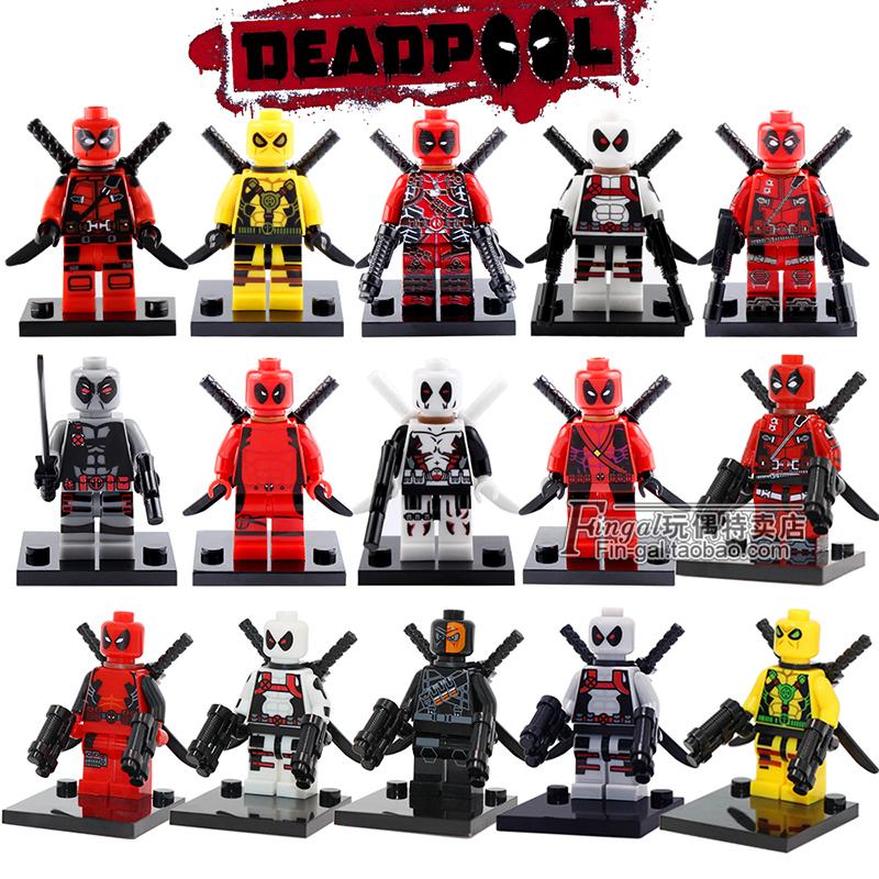 [淘寶網] 兼容漫威超級英雄人仔Deadpool綠紅黃色格溫死侍拼裝積木玩具