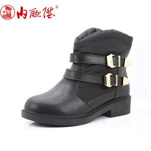 内联升女棉鞋女式羽绒短靴秋冬时尚老北京布鞋 保暖鞋 6843C