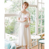 [Please Mr. deer] the summer of 2020, French vintage cream was thin short-sleeved dress simple daily trip to shoot light wedding