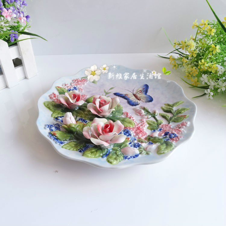 创意摆设 香槟玫瑰欧式陶瓷装饰摆盘 3D立体挂盘装饰品结婚礼物