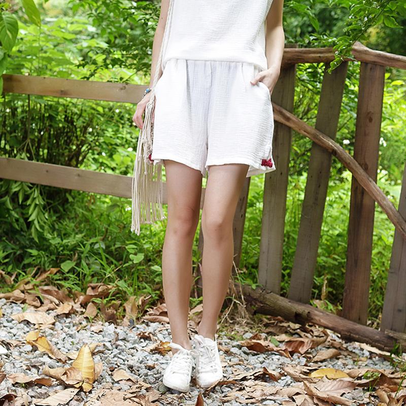 2018年夏季女装文艺百搭棉麻松紧腰新款宽松休闲运动短裤