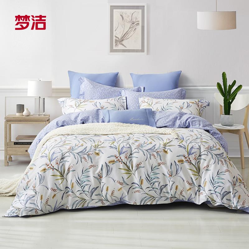 梦洁家纺纯棉印花三/四件套田园花卉全棉被套床单套件清风徐来