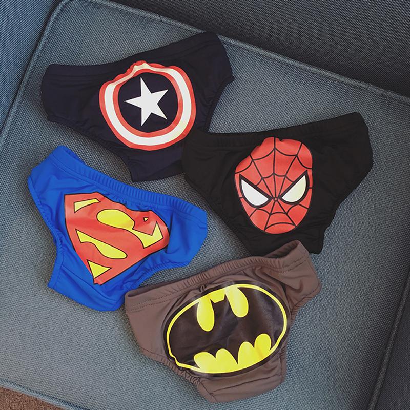 兒童泳褲潮男童三角可愛嬰兒寶寶游泳褲泳裝小孩超人蝙蝠俠游泳衣