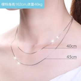 s925纯银项链单链子裸链单买替换女无吊坠长短款可调节正品锁骨链