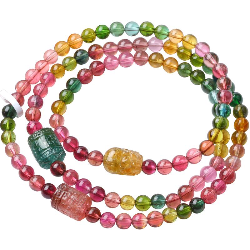 老料糖利彩虹碧玺特色款原创手链手串貔貅回纹桶珠 饰品 卡缇莎