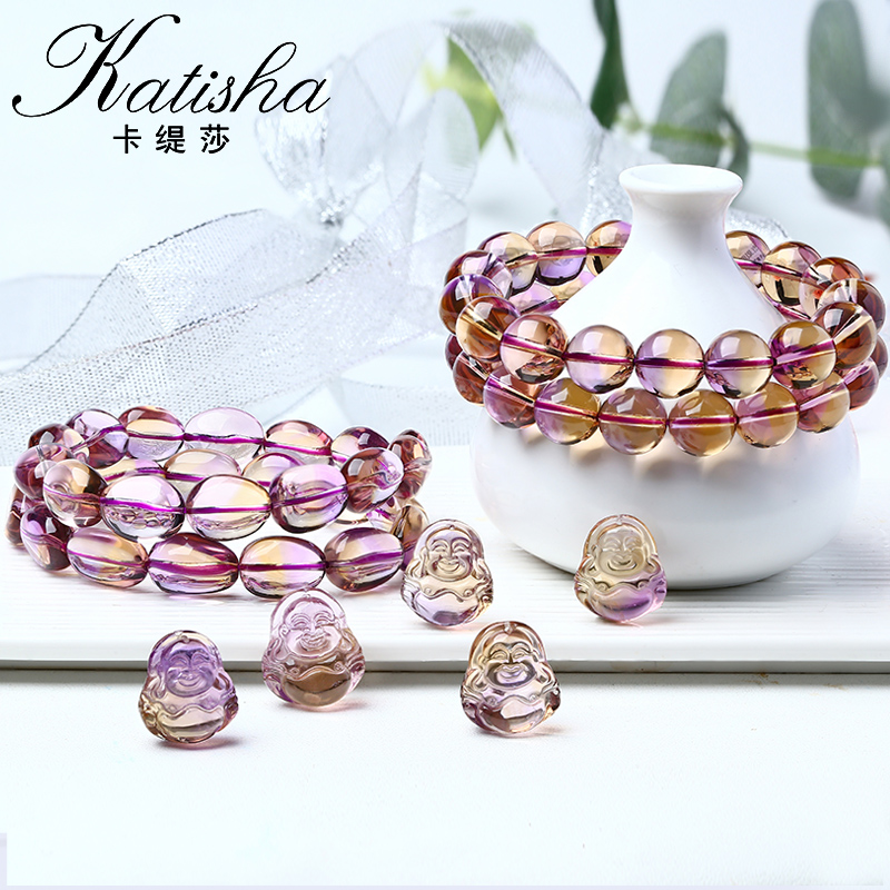 卡缇莎宝石级紫黄晶手链女男款紫水晶黄水晶手串一石双色水晶手饰
