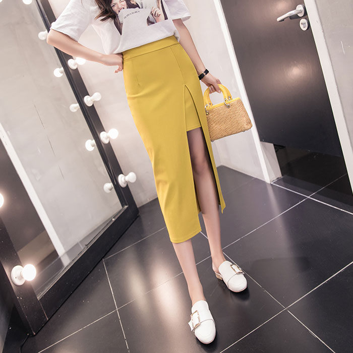 -Style Hong Kong-Style Spring And Autumn New Irregular Slit-Front Stretch High-Waist Was Thin Package Hip Dress Skirts Women's