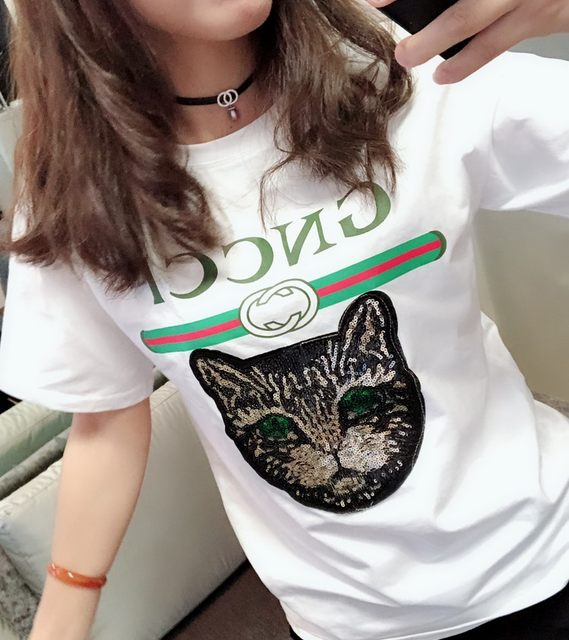 2020 new summer short-sleeved white t-shirt female Korean Slim loose big yards letters printed round neck short-sleeve tide