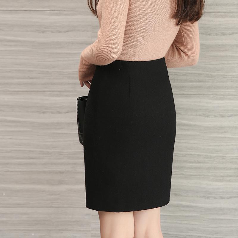 毛呢半身裙一步裙包裙秋冬季加厚高腰显瘦中长款包臀裙中裙职业裙