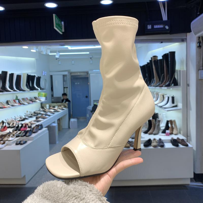 首尔留学生鱼嘴露趾鞋子圆头镂空侧拉链包腿瘦瘦时装袜子短靴女凉