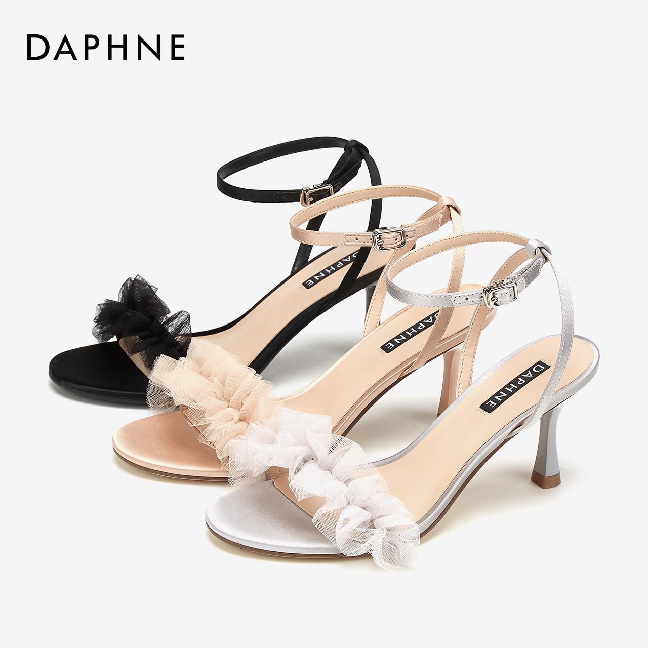 夏凉鞋女褶皱轻纱酒杯跟凉鞋缎面交叉带中空细跟高跟鞋 2019 达芙妮