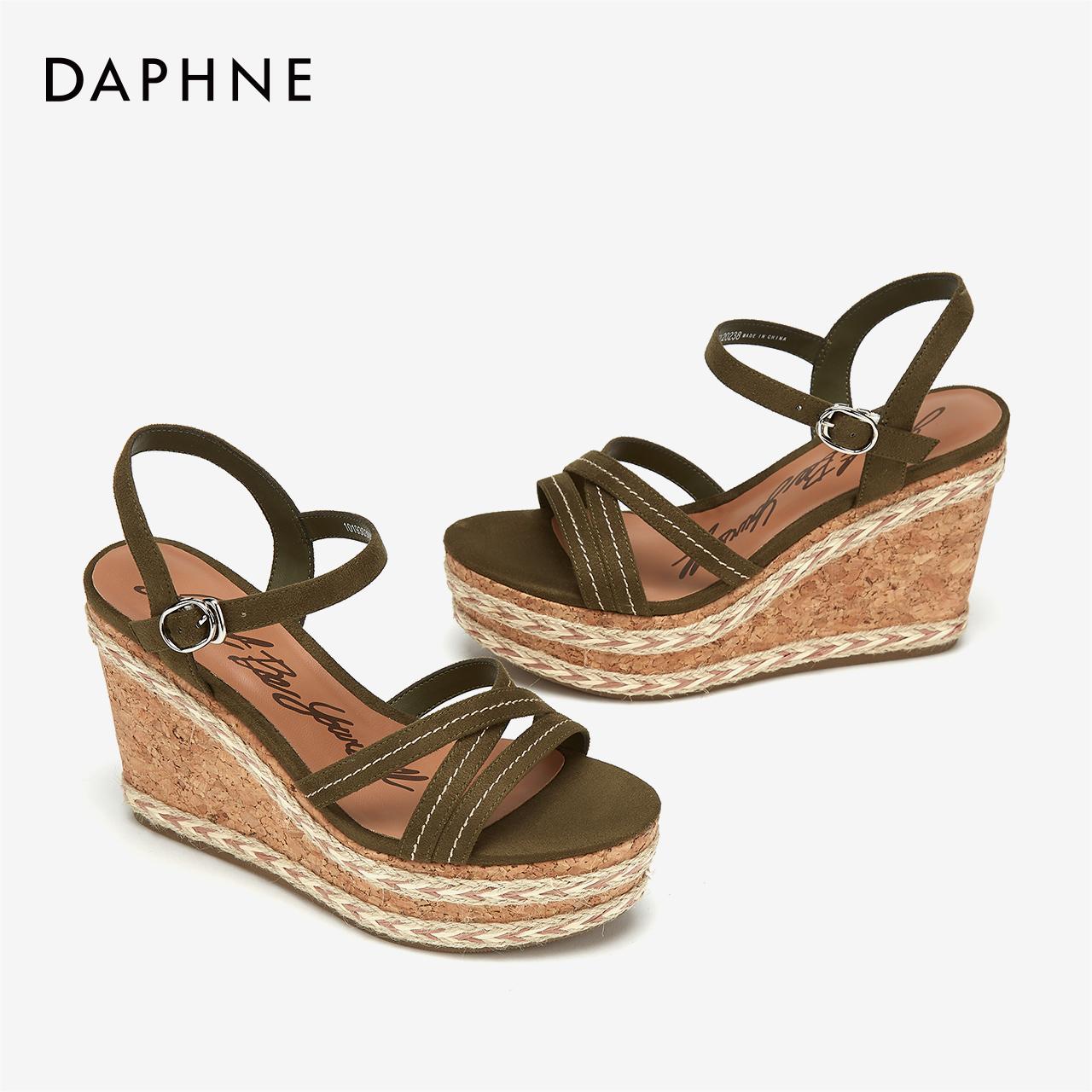 夏凉鞋女度假风撞色编织跟凉鞋交叉带坡跟度假鞋 2019 达芙妮