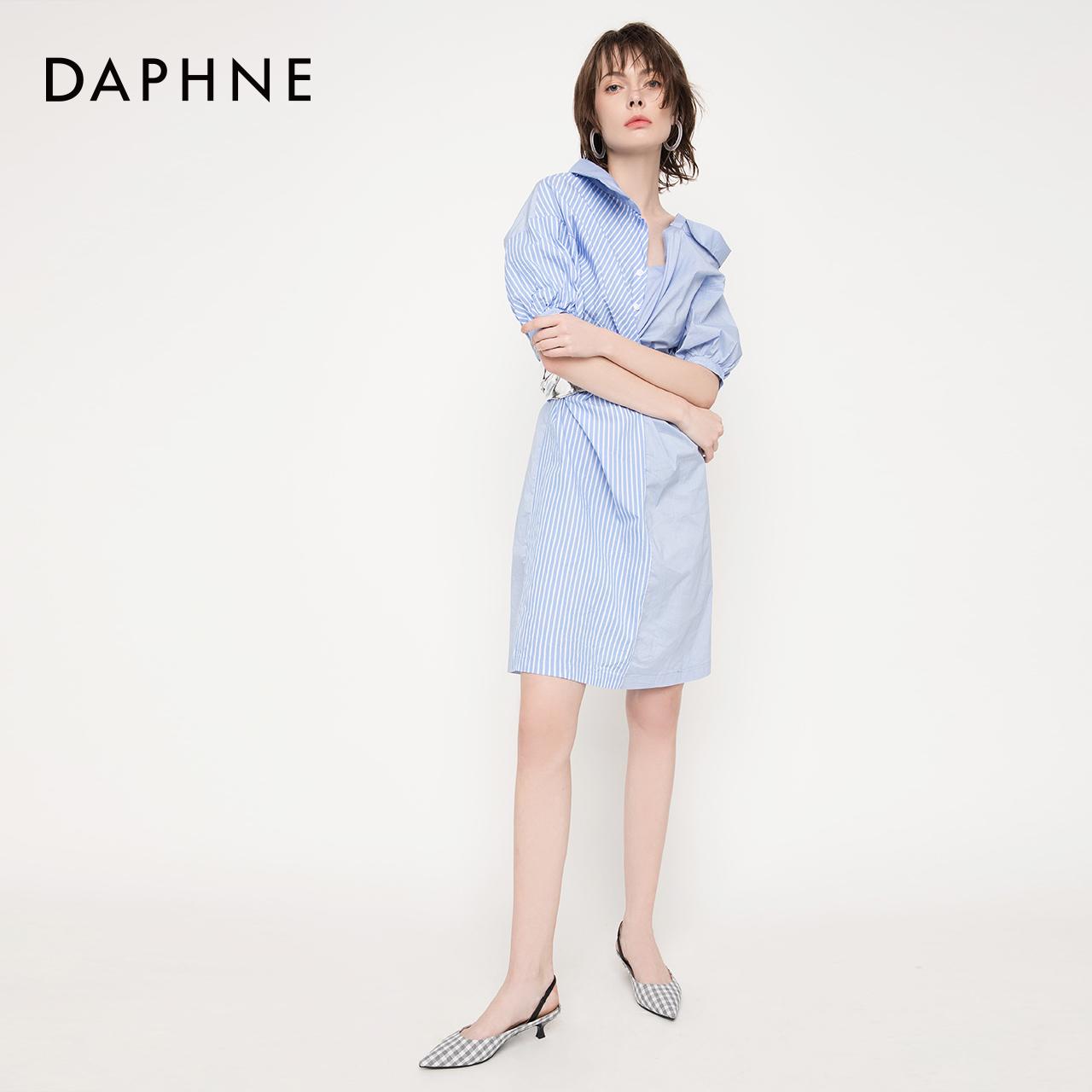 春新款文艺气质灵动格纹布猫跟后空低跟单鞋女 2019 达芙妮 Daphne