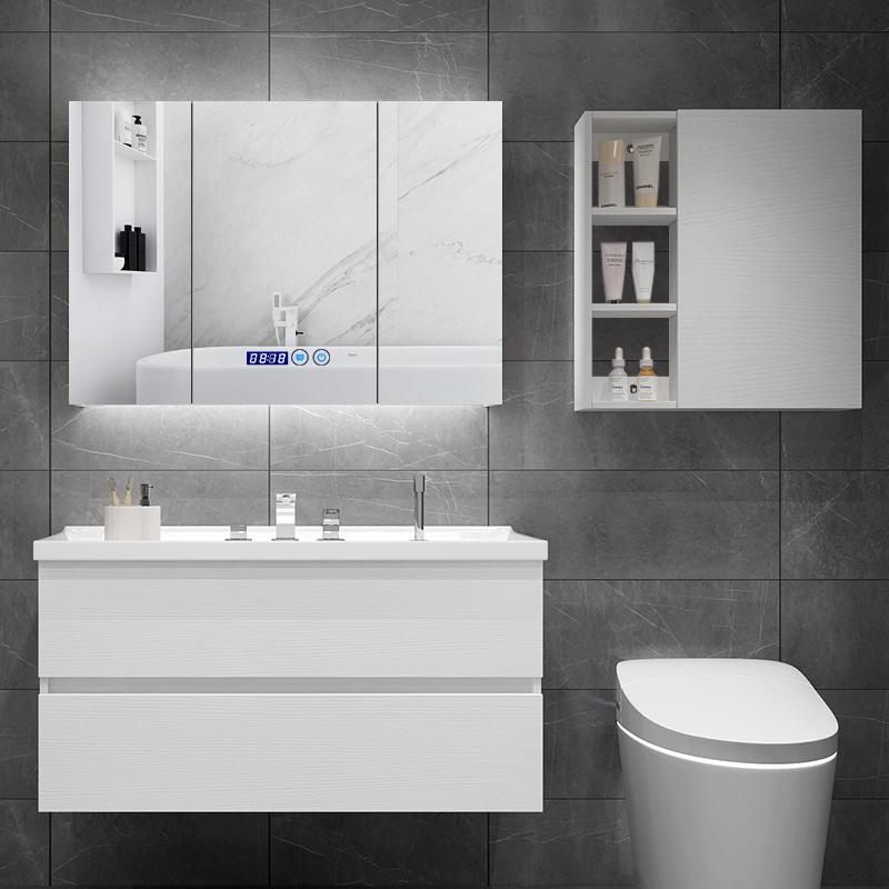 北欧智能简约现代浴室柜组合卫生间洗漱台卫浴柜洗手盆洗脸盆柜
