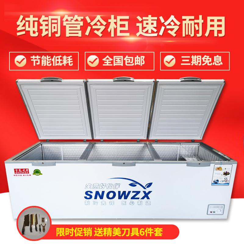 雪花之星商用卧式超大容量单温双温冷柜冰柜雪柜 铜管冰柜冷柜