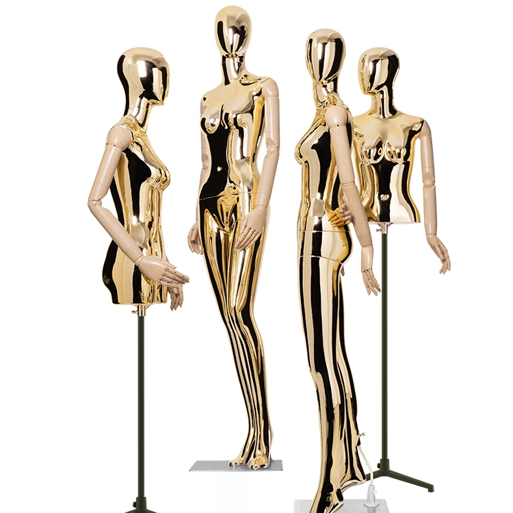 模特道具女全身展示架橱窗女装电镀模特架半身婚纱服装店女模特