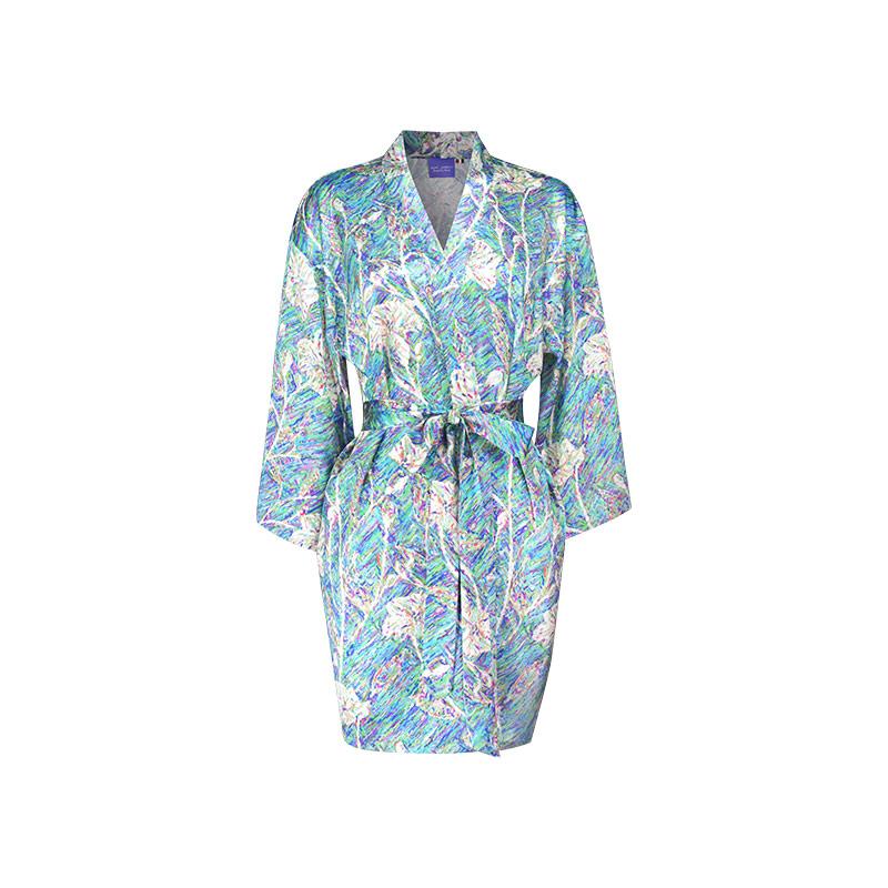 丝绸花园 梵高印花桑蚕丝短袍kimono 真丝印花家居短浴袍晨袍睡袍