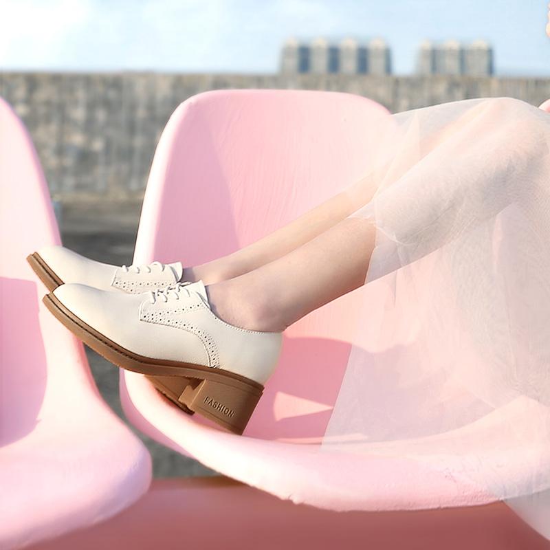 骆驼女鞋2021春秋新款复古英伦风小皮鞋真皮鞋子粗跟单鞋高跟鞋女主图