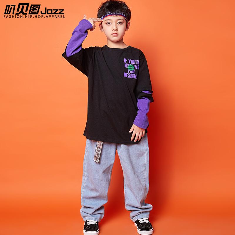 男童嘻哈潮装儿童街舞套装元旦爵士舞服走秀服装宽松hiphop演出服 - 图3