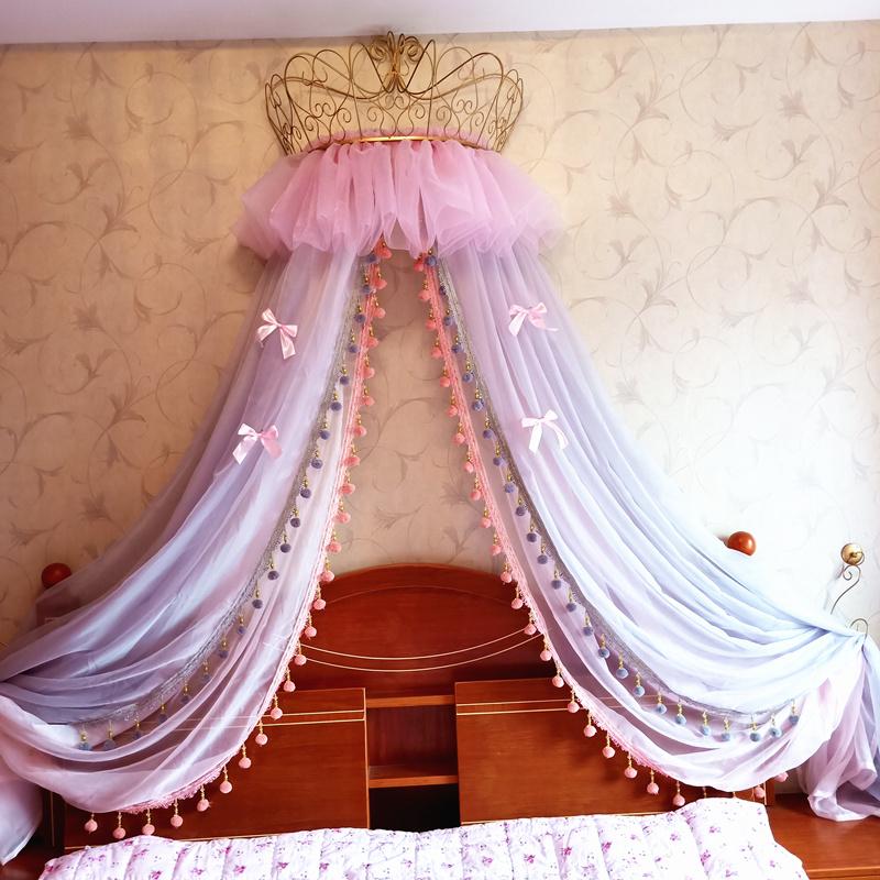 新品歐式公主床幔蓬蓬簾頭紗粉嫩少女心裝飾紗帳毛球雙層送蝴蝶結