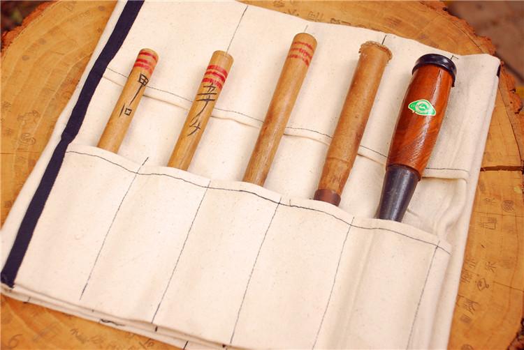 木工凿子 雕花凿 打胚坯刀修光刀收纳刀袋 帆布防碰刃 30只刀凿