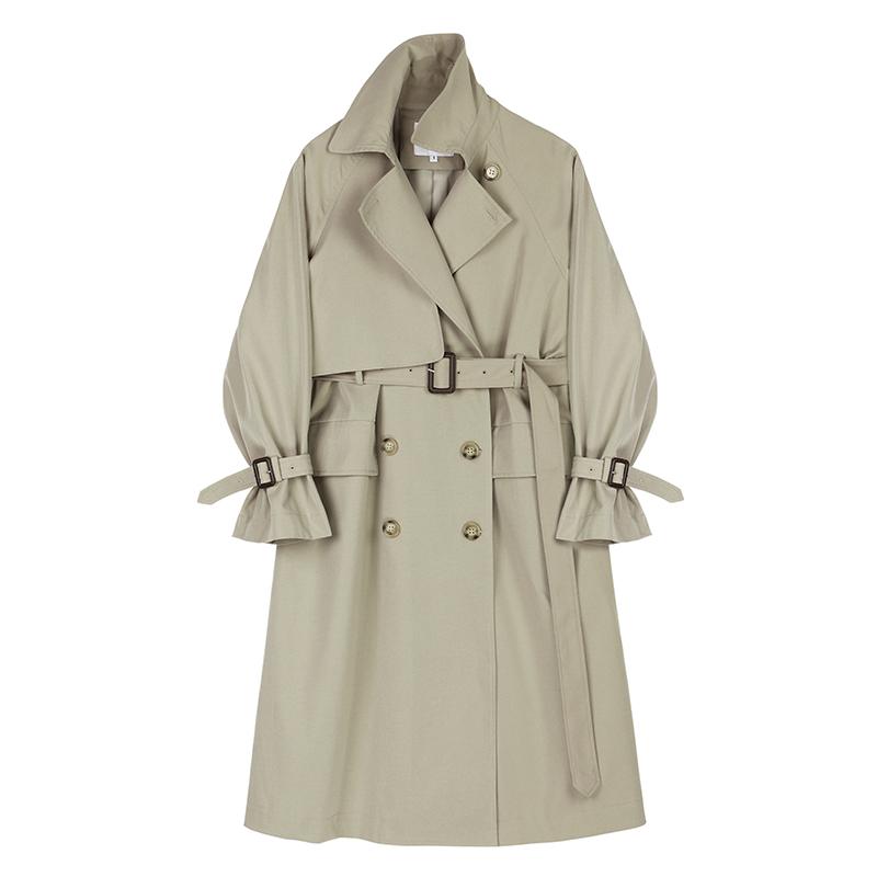【9折】VEGA CHANG风衣女中长款收腰显瘦双排扣垂感气质外套春