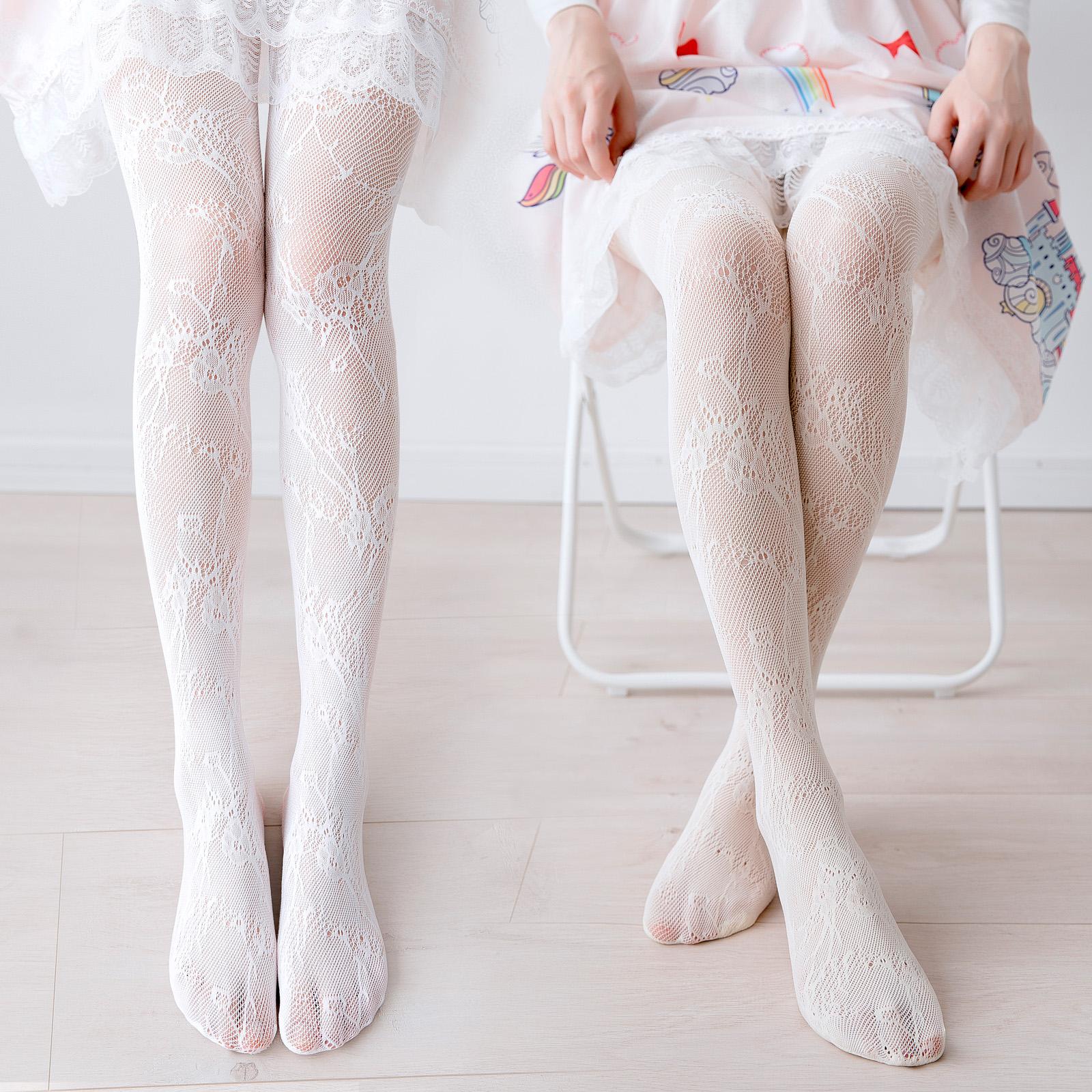 日系白色lolita丝袜子少女蕾丝打底洛丽塔连裤袜过膝显瘦印花长筒