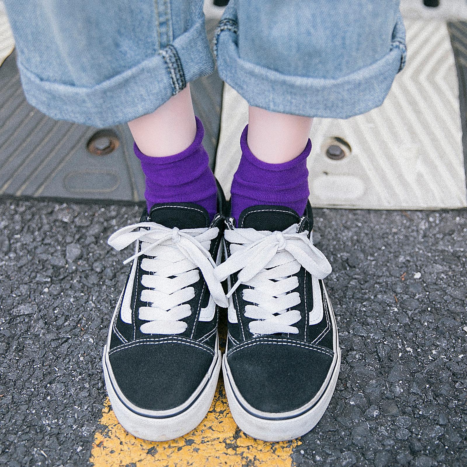 袜子女中筒袜堆堆袜春秋薄款韩版ins潮秋冬韩国复古日系纯色长袜