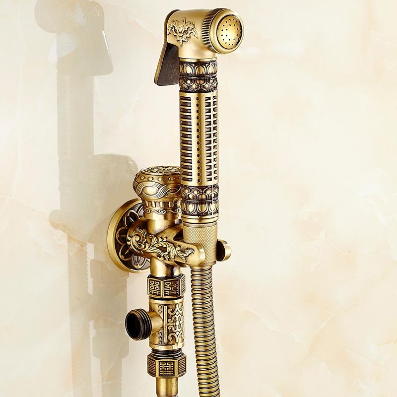 欧式仿古 全铜马桶喷枪龙头 妇洗器净身器冲洗器套装角阀增压
