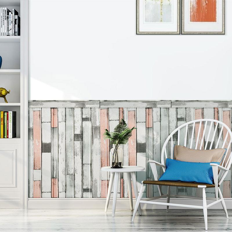立体木纹墙贴客厅卧室走廊墙裙装饰自粘防潮防撞护墙板 3D 防水防霉