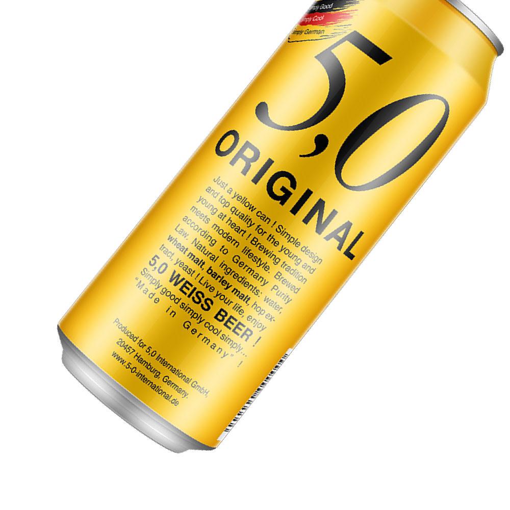 德国进口 奥丁格旗下 5.0小麦精酿白啤酒 500ml*24罐 整箱装