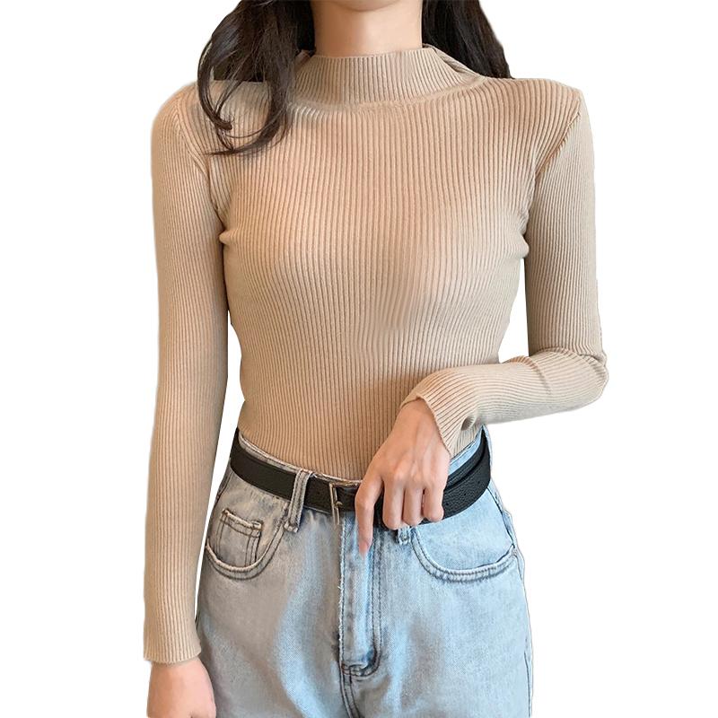 秋季新款长袖套头百搭纯色韩版高领学生修身针织打底衫上衣女装潮