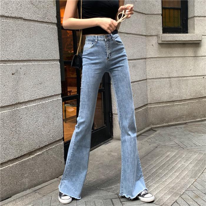 复古显瘦夏季2020宽松直筒阔腿长裤坠感弹力高腰喇叭牛仔裤子女装