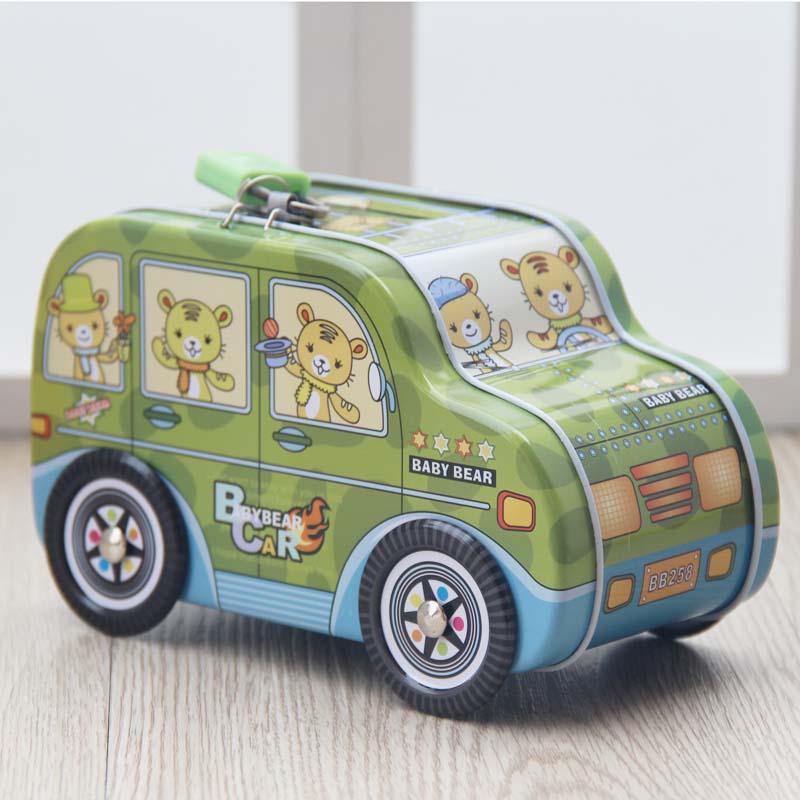 卡通带锁汽车存钱罐可爱防摔生日礼物 创意学生礼品吉普车储蓄罐