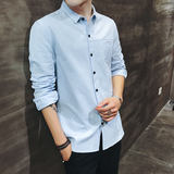 Long-sleeved shirt men's spring and summer Korean version of the trend of business solid color cotton sanding shirt men's casual loose shirt