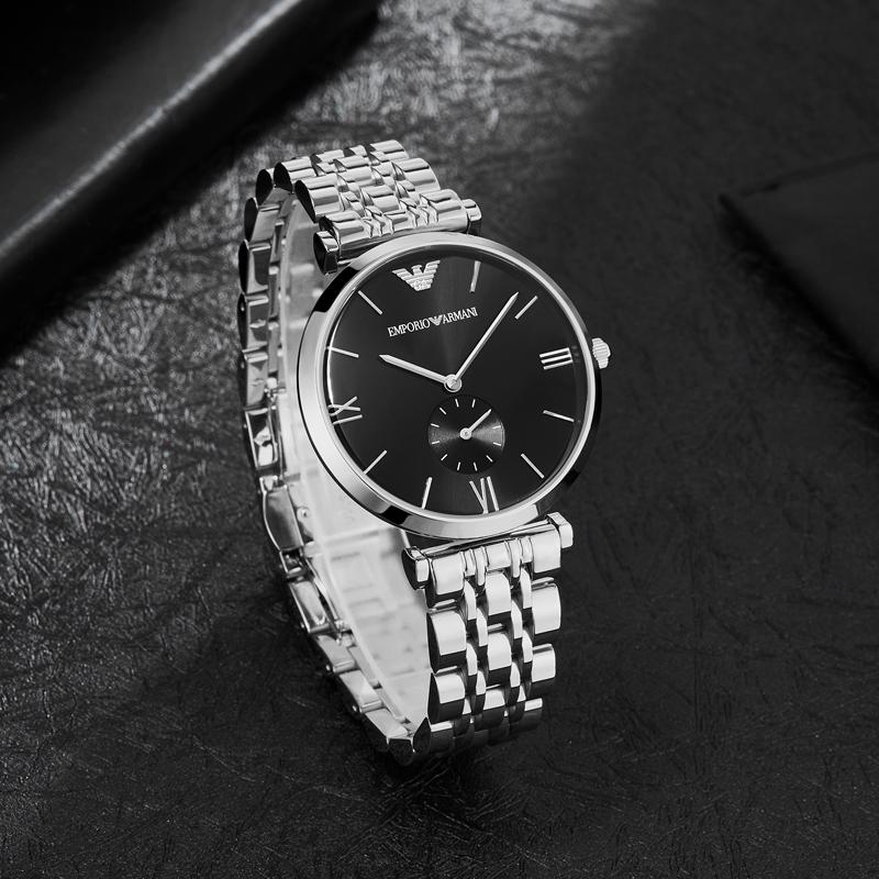 Armani阿玛尼正品手表男黑表盘防水商务银色钢带手表石英表AR1676