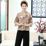 Middle-aged and elderly women 40-50 years old mother dress summer chiffon mid-sleeved shirt middle-aged ladies summer T-shirt single piece