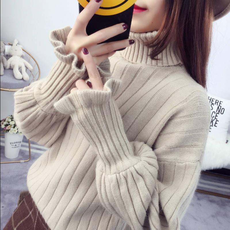 秋装加绒/不加绒学生毛衣女冬季韩版高领宽松风针织小清新毛针织