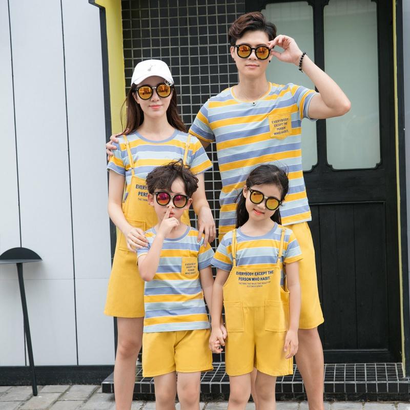 亲子装夏装2020新款韩版条纹短袖一家四口家庭全家装套装时尚百搭
