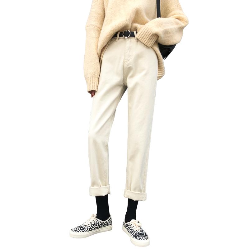 米白色直筒牛仔裤女春装2020年新款高腰显瘦阔腿宽松萝卜老爹裤子