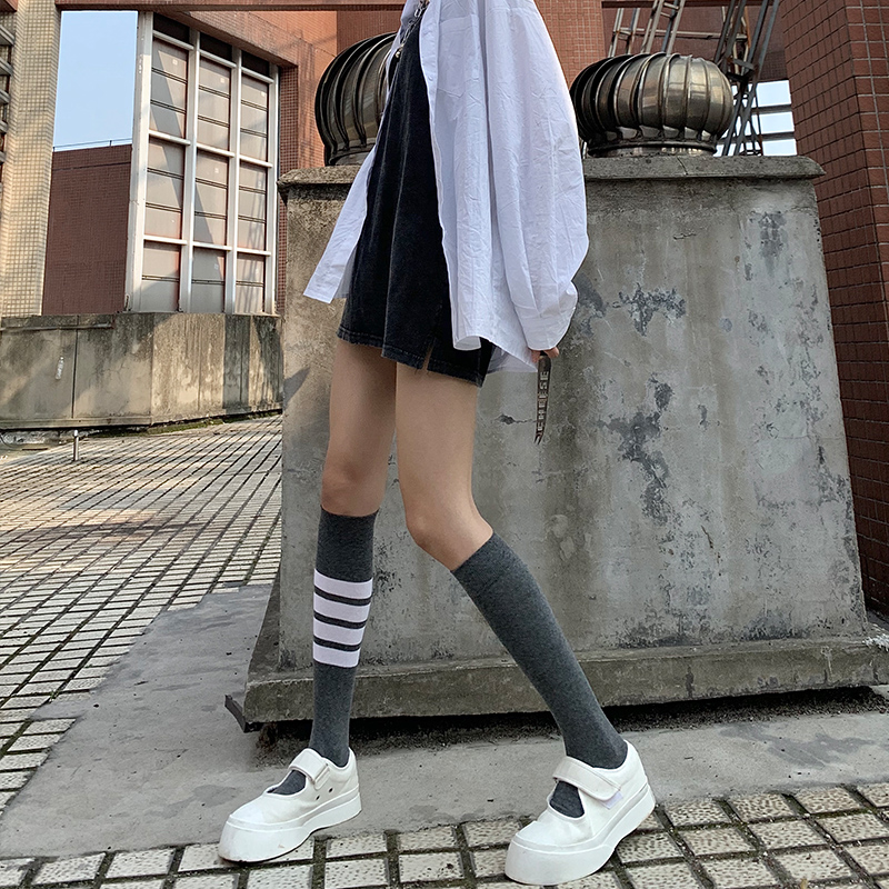 ins jk  四条杠小腿袜灰色春秋袜子女中筒袜长日系可爱韩国网红 潮