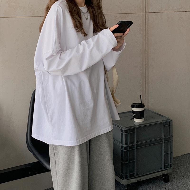 港味宽松长袖t恤女装外穿早秋衣内搭2021年新款初秋季白色上衣潮