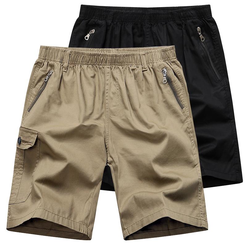 夏季中年男士短裤纯棉爸爸装宽松大码中老年人休闲五分裤外穿裤衩