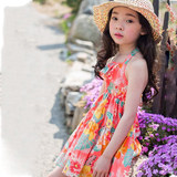 Girls dress summer 2020 new floral skirt halter open neck children's cotton beach vacation beach skirt