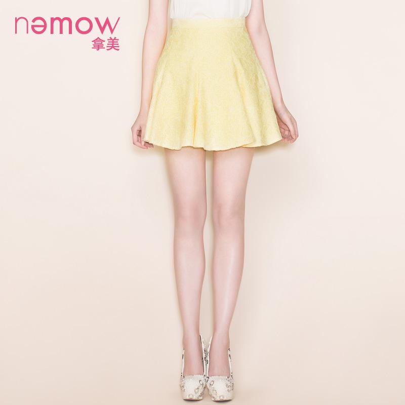 拿美南梦秋季专柜新品高腰修身 蕾丝格子A字裙半身裙A5L243