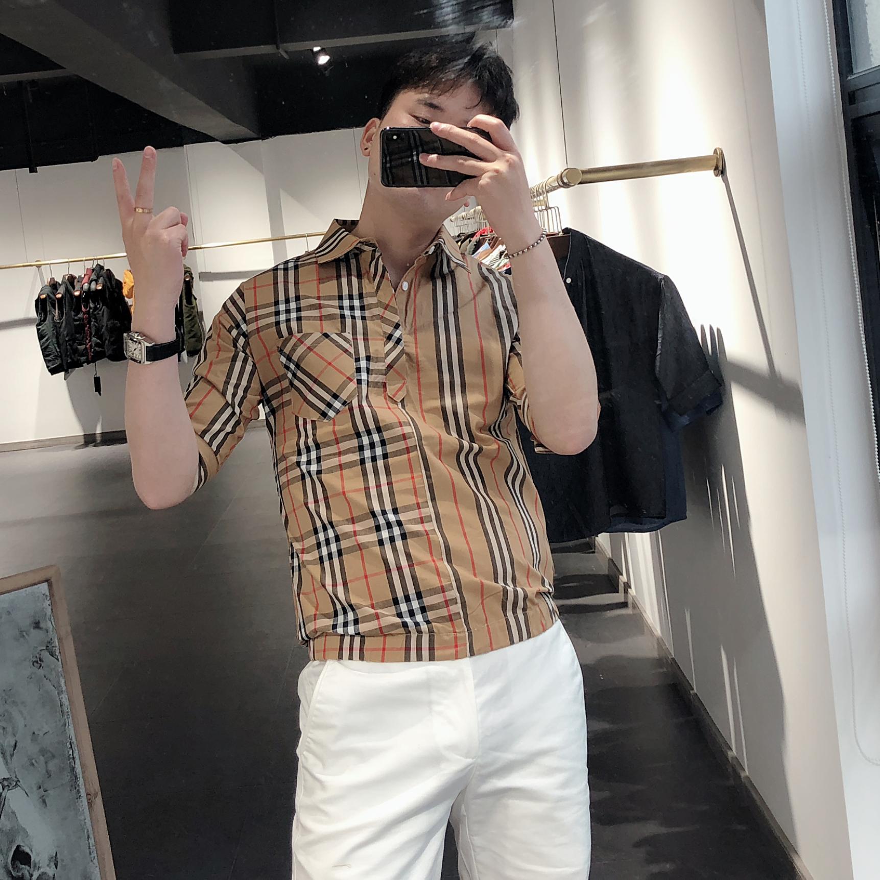 夏季新品大牌格子套头衬衫男半袖韩版潮流帅气拼接五分袖衬衣 2019