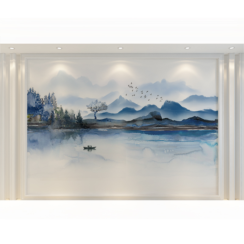 现代简约影视墙壁画无纺布新中式蓝色山水电视背景墙壁纸壁布墙布