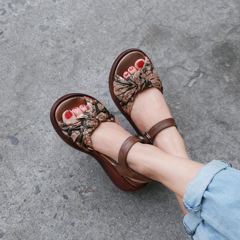 他她鱼春夏新款复古风真皮森系女凉鞋舒适软底防滑坡跟厚底松糕鞋