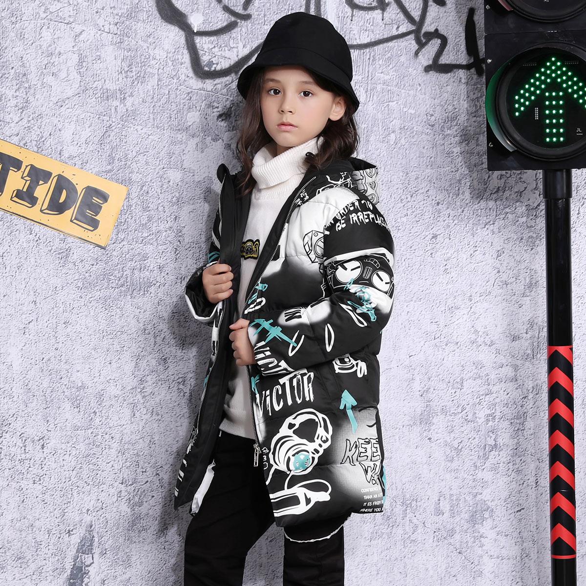 XXbin潮牌童装男童羽绒服儿童冬装洋气时髦连帽卡通中大童外套潮
