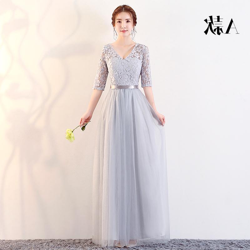 伴娘服女2019新款韩版闺蜜装婚礼长款姐妹团礼服裙女豆沙色礼服夏